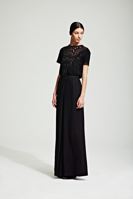 Jonathan Saunders Resort 2012 Black Evening Skirt and Lace Blouse on Exshoesme.com