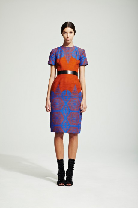 Jonathan Saunders Resort 2012 Blue and Red Printed Dress on Exshoesme.com