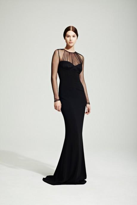 Jonathan Saunders Resort 2012 Sheer Sleeved Black Gown on Exshoesme.com