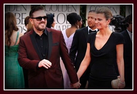 Ricky Gervais in Ted Baker with his wife at the 2012 Golden Globe Awards on Exshoesme.com