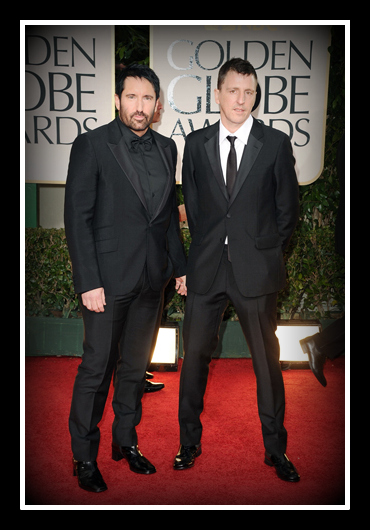 Trent Reznor in Prada with Atticus Ross at the 2012 Golden Globe Awards on Exshoesme.com