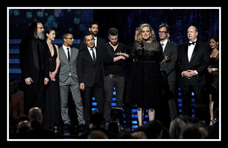 Adele accepts the Album of the Year award at the 2012 Grammy Awards on Exshoesme Kevin
