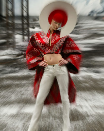 Alexander McQueen FW03 White Pants and Red Brocade Tail Coat on Exshoesme.com