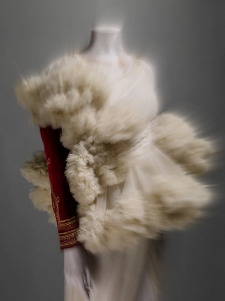 Alexander McQueen FW08 Red Velvet Jacket and Ivory Ruffles on Exshoesme.com