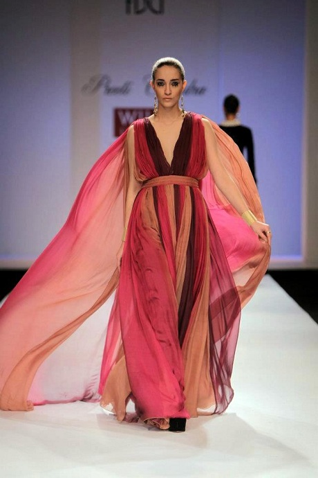 Preeti Chandra AW12 Tiered Chiffon Gown on Exshoesme.com