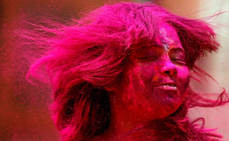 Girl Celebrating Holi in Chennai India March 8 2012 Photo by Arun Sankar K. AP