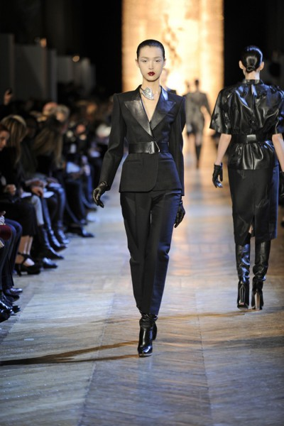 YSL FW12 Black Capri Suit with Leather Lapels on Exshoesme.com