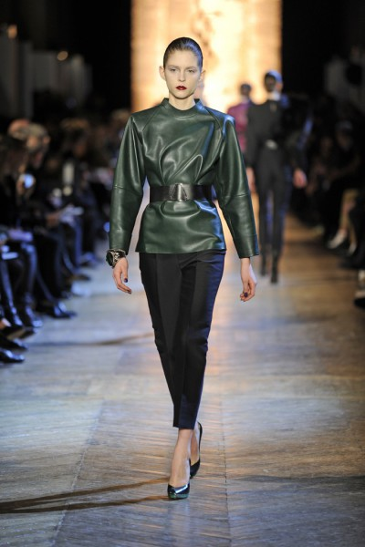 YSL FW12 Green Leather Tunic, Green Heels and Black Capris on Exshoesme.com