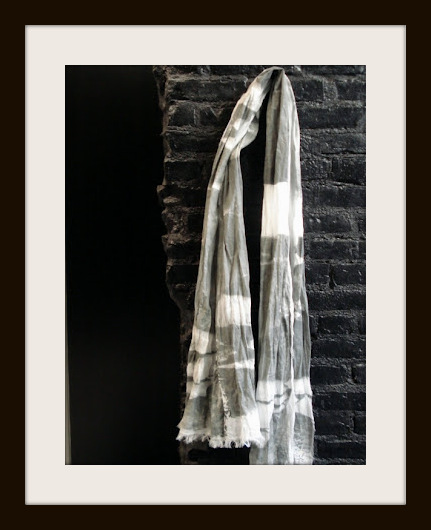 Philippe Dubuc Grey and White Linen SS12 Scarf on Exshoesme.com