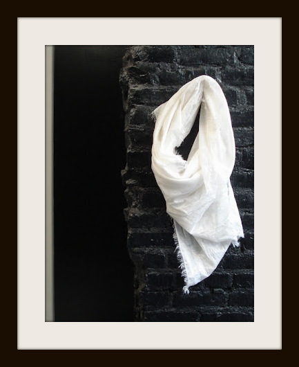 Philippe Dubuc White Cotton and Silk SS12 Scarf on Exshoesme.com