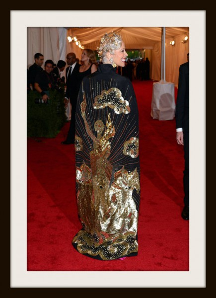 10. 7. Linda Fargo in Naeem Khan Cape - Back View at the Metropolitan Museum of Art Gala 2012 on Exshoesme.com