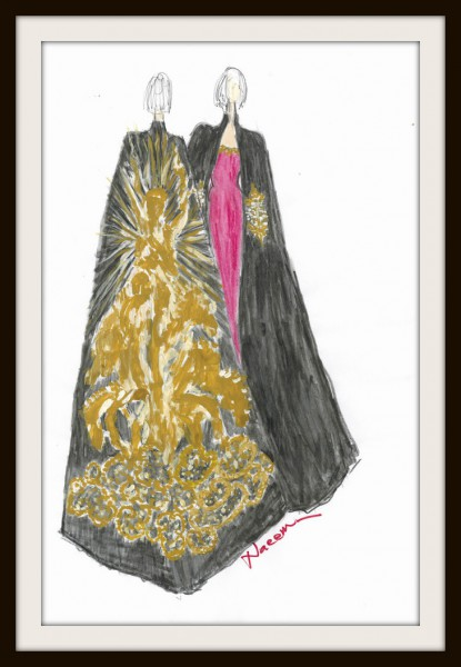 8. Naeem Khan's Sketch of Linda Fargo's Dress and Cape for the Met Gala 2012 on Exshoesme.com