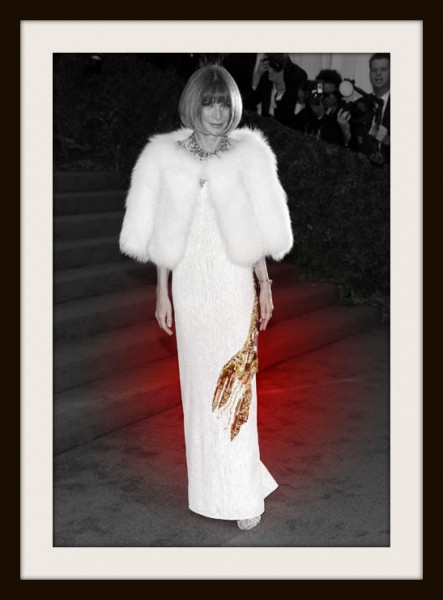 Anna Wintour in Prada Lobster Dress - Front View at the Metropolitan Museum of Art Gala 2012 on Exshoesme.com