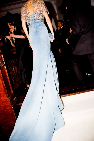 Caroline Trentini  in denim dress by Olivier Theyskens at the Metropolitan Museum of Art Gala 2012 on Exshoesme.com