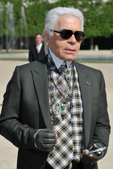 Karl Lagerfeld at the Chanel 2012-13 Cruise Collection at Chateau de Versailles May 14 2012 on Exshoesme.com.