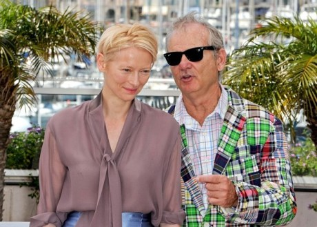 Tilda Swinton and Bill Murray at Moonrise Kingdom Photo Call at Cannes Film Festival May 16 2012 on Exshoesme.com.