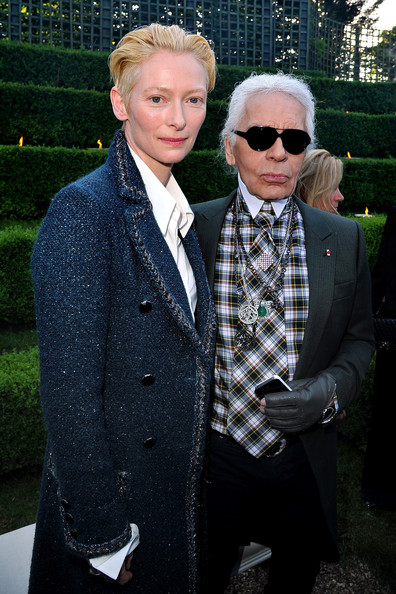 Tilda Swinton with Karl Lagerfeld at the Chanel 2012-13 Cruise Collection at Chateau de Versailles May 14 2012 on Exshoesme.com.