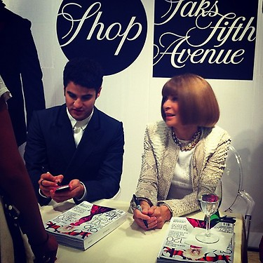 3.  Anna Wintour at Saks Fifth Avenue for Fashion's  Night Out 2012 with Darren Criss. Photo via  @iamglennmiller