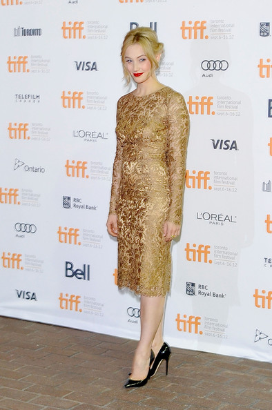 Sarah Gadon in gold Dolce and Gabbana at the Antiviral Premiere at the Toronto International Film Festival 2012 on Exshoesme.com (Jag Gundu)