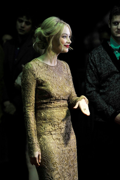 Sarah Gadon wearing Dolce and Gabbana lace at the Antiviral Premiere at the Toronto International Film Festival 2012 on Exshoesme.com (Jag Gundu)