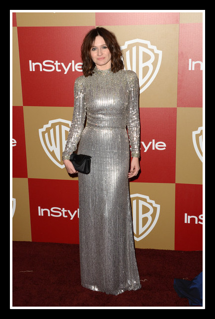 Emilly Mortimer in Jenny Packham at the Warner Bros. and InStyle Golden Globe Awards After Party 2013 on Exshoesme.com. Photo Jason Merritt