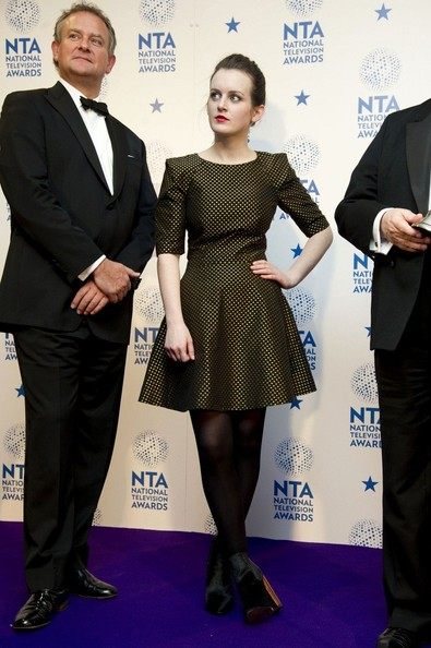 Hugh Bonneville and Sophie McShera at the National Television Awards UK after their Downton Abbey win on Exshoesme.com