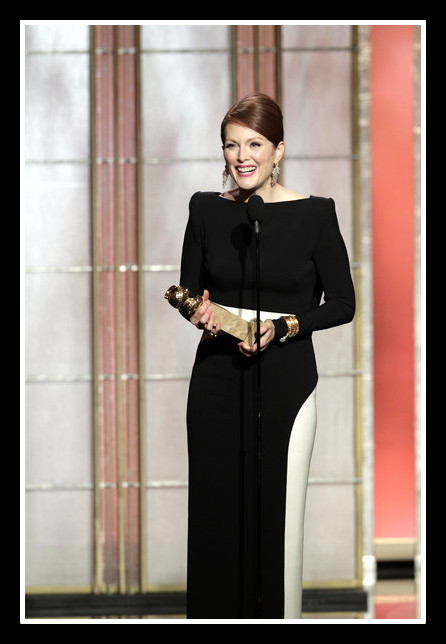 Julianne Moore giving her acceptance speech at the 2013 Golden Globe Awards on Exshoesme.com Photo Handout Getty NA