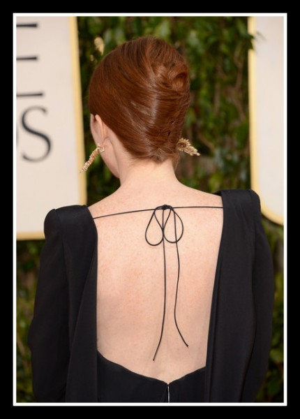Julianne Moore shows off the back of her Tom Ford Gown at the 2013 Golden Globe Awards on Exshoesme.com Photo Jason Merritt