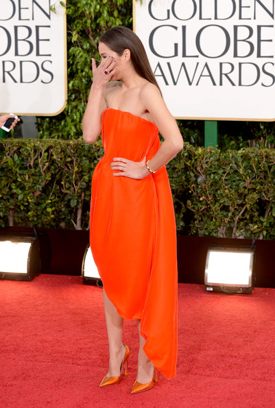 Marion Cotillard in Christian Dior Couture at the 2013 Golden Globe Awards on Exshoesme.com. Photo Jason Merritt