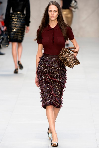 Burberry FW13 rivet fringe skirt and knit polo shirt on Exshoesme.com.