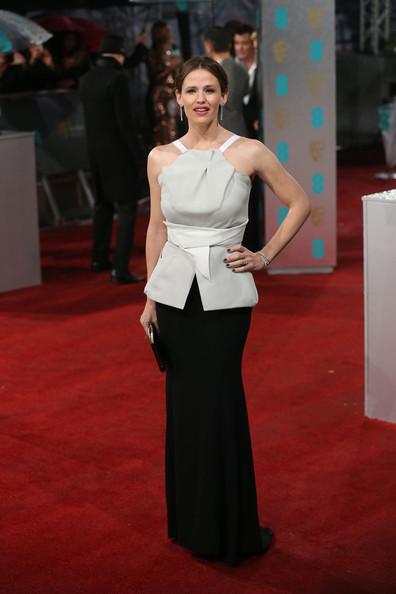 Jennifer Garner in Roland Mouret at the 2013 BAFTAs on Exshoesme.com. Photo via PacificCoastNews.com