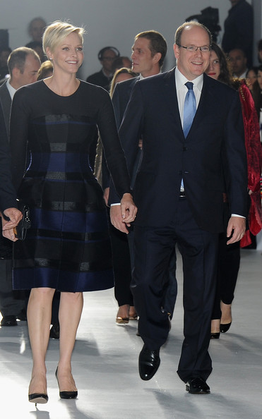 Princess Charlene of Monaco and Prince Albert II of Monaco attend the Dior Resort Collection 2014 show on Exshoesme.com. Photo Pascal LeSegretain