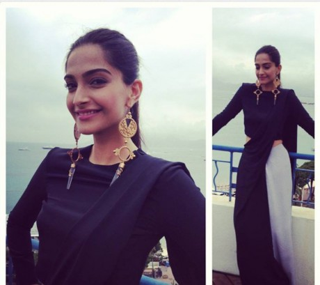 Sonam in Huemn Sari and Suhani Pittie jewellery at the 2013 Cannes Film Festival on Exshoesme.com. Twitter photo.