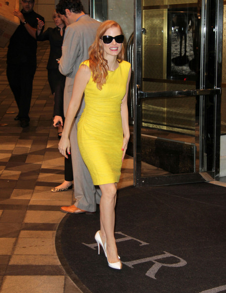 3. Jessica Chastain at the Trump Hotel during #TIFF13 on Exshoesme.com. PacificCoastNews photo