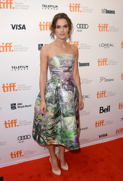 Keira Knightley in Mary Katrantzou at Can a Song Save Your Life premiere at the 2013 Toronto International Film Festival on Exshoesme.com. Jason Merritt photo