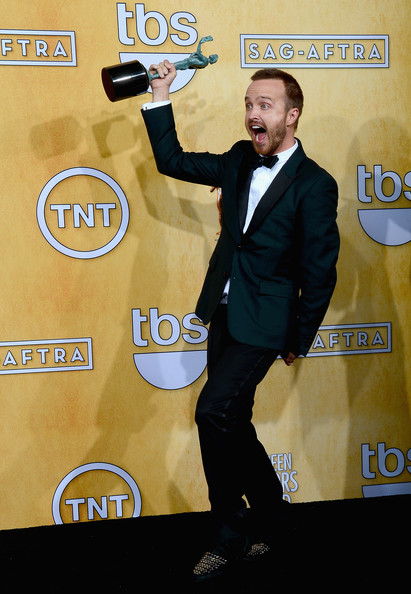 Aaron Paul at the 2014 SAG Awards on Exshoesme.com. Ethan Miller Getty photo