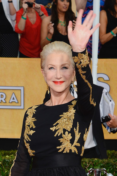 Helen Mirren in Escada at the 2014 SAG Awards on Exshoesme.com. Ethan Miller Getty photo