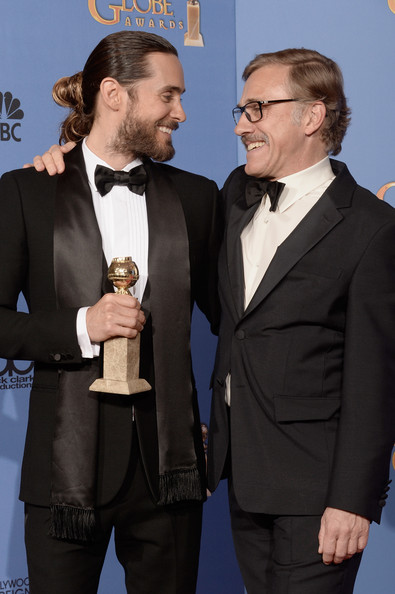 Jared Leto with Christoph Waltz at the 2014 Golden Globe Awards on Exshoesme.com. Kevin Winter photo.