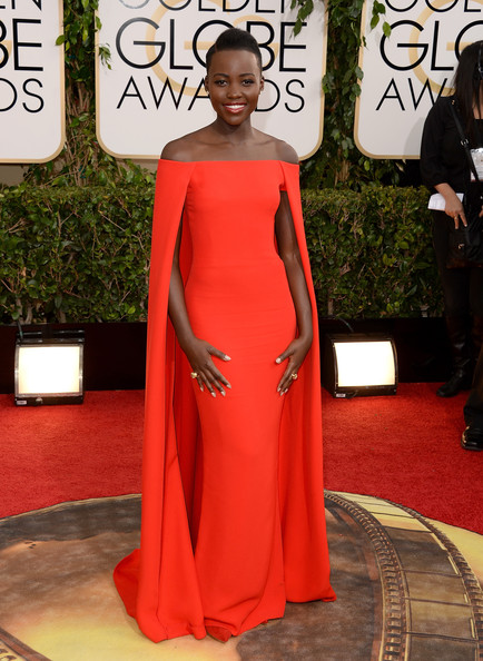 Lupita Nyong'o in Ralph Lauren at the 2014 Golden Globe Awards on Exshoesme.com. Jason Merritt photo.