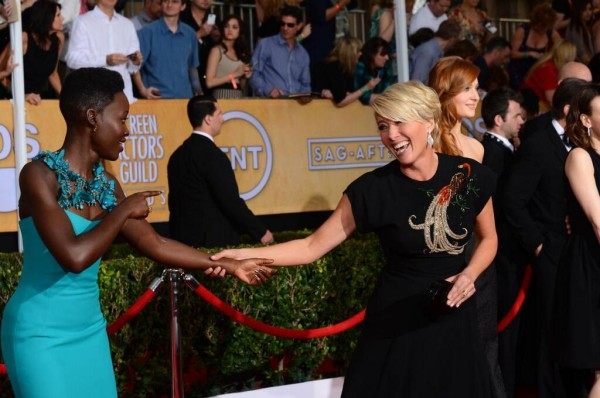 Lupita Nyong'o with Emma Thompson at the 2014 SAG Awards on Exshoesme.com. @SAGAwards photo