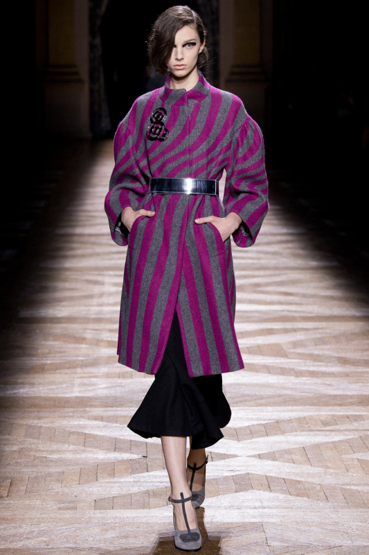 Dries Van Noten FW14 Magenta and Grey striped coat on Exshoesme.com