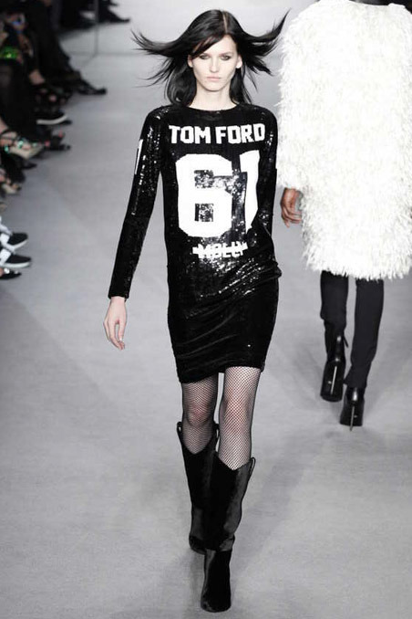 Tom Ford FW14 Black Sequined Sports Jersey Dress on Exshoesme.com