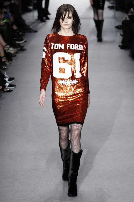 Tom Ford FW14 Red Sequined Sports Jersey Dress on Exshoesme.com