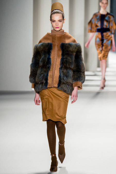 Carolina Herrera FW14 pencil skirt and fur jacket on Exshoesme.com