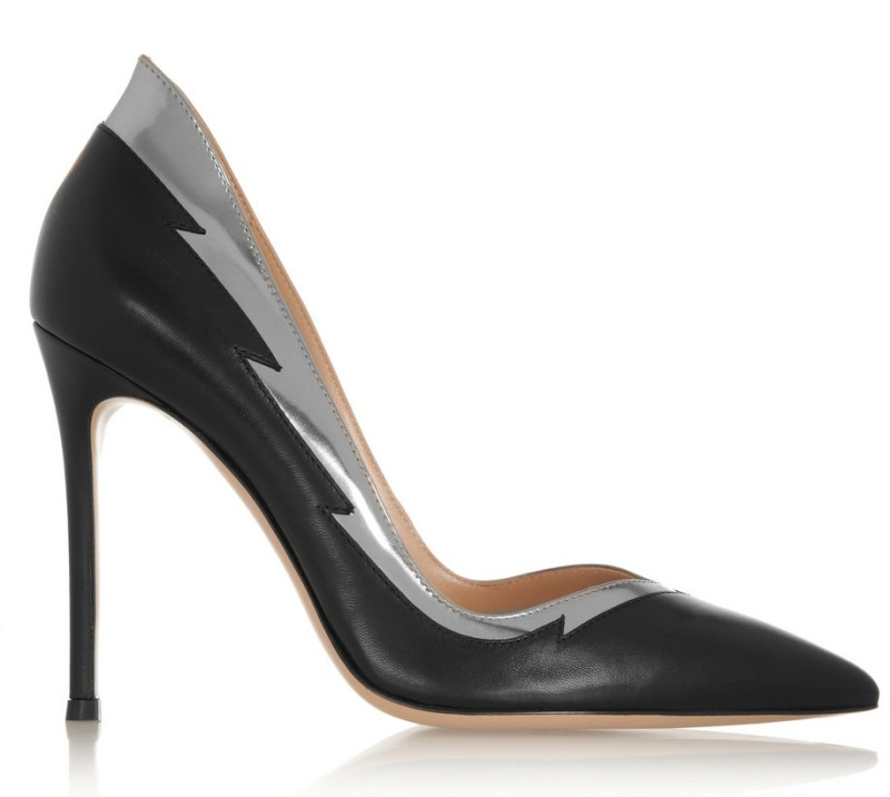 Gianvito Rossi Silver and Black Flash Stilettos on Exshoesme