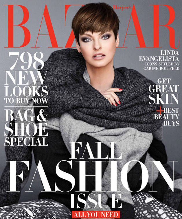 Linda Evangelista on the cover of Harper's Bazaar September 2014 photographed by Sebastian Faena on Exshoesme.com
