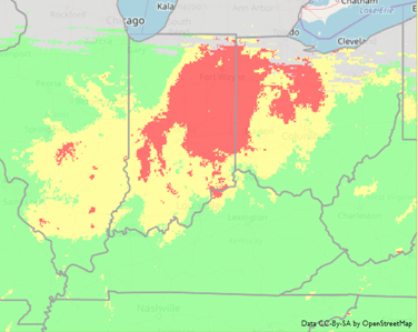 Figure 2. Fusarium Risk Assessment Tool Indiana map generated on 2 May 2019. Red = high risk, Yellow = medium risk, and Green = low risk for Fusarium head blight on wheat just prior to flowering or the early stages of grain development. Image credit: http://www.wheatscab.psu.edu/.