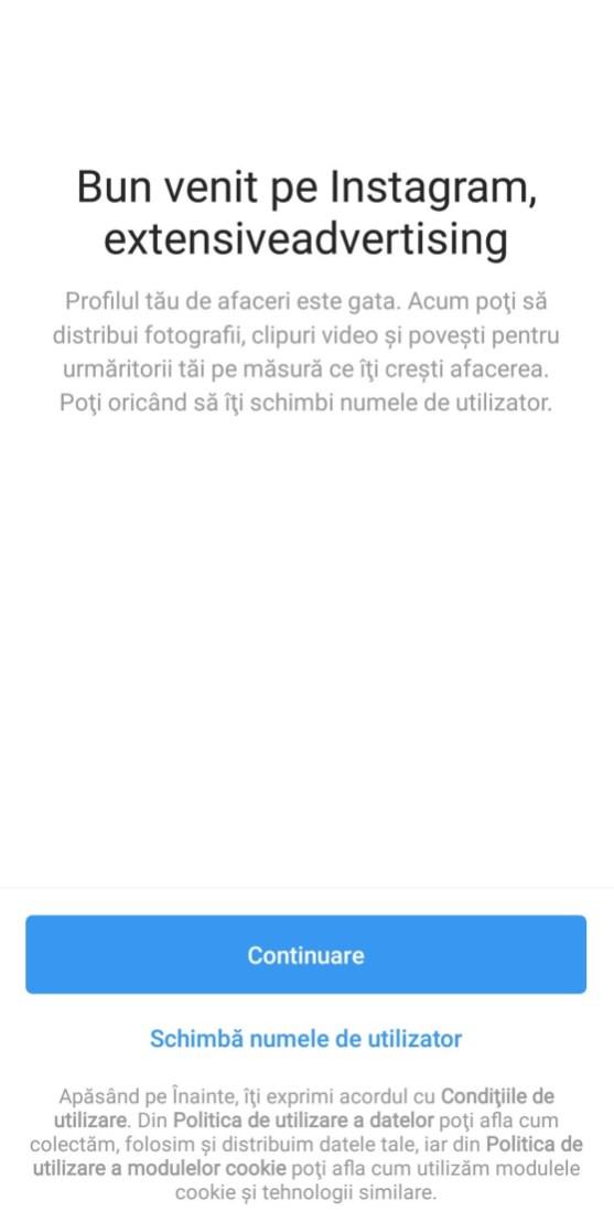 Pas 11 deschidere pagina Instagram pentru firma