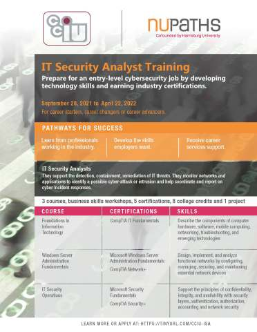 Fall 2021 IT Security Analyst Flyer Page 1
