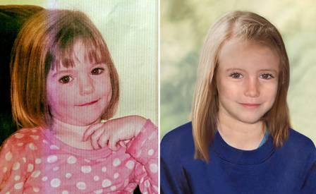 A polícia divulgou uma simulação de como Madeleine estaria atualmente, à direita